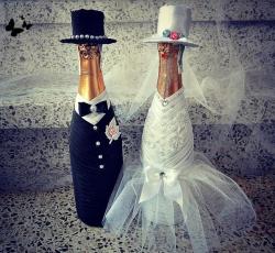 Бутылки с шампанским на свадьбу своими руками