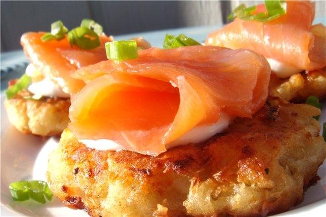 Драники из картошки рецепт с рыбой 50